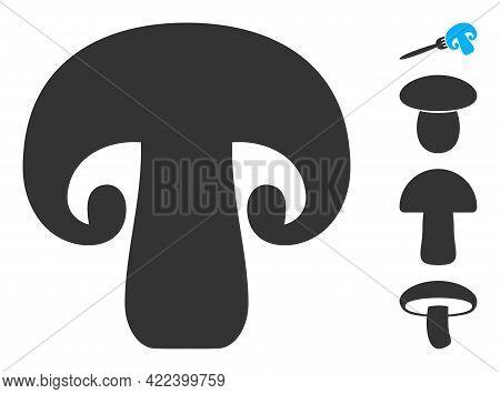 Champignon Mushroom Icon Designed In Flat Style. Isolated Vector Champignon Mushroom Icon Image On A