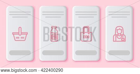 Set Line Shopping Basket, Bottle With Milk, Bag Recycle And Seller. White Rectangle Button. Vector
