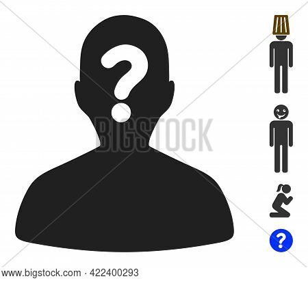 Unknown Body Icon With Flat Style. Isolated Vector Unknown Body Icon Illustrations On A White Backgr