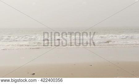 Sandy Misty Beach, Encinitas California Usa. Pacific Ocean Coast, Dense Fog Brume, Empty Sea Shore.