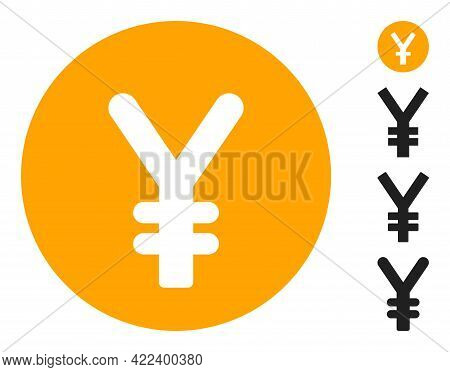 Yen Coin Icon Designed In Flat Style. Isolated Vector Yen Coin Icon Image On A White Background, Sim