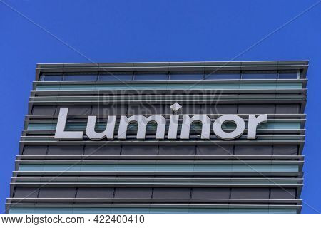 Luminor Logo On Luminor Head Office Building On 30 May 2021 In Vilnius, Lithuania. Luminor Bank As I