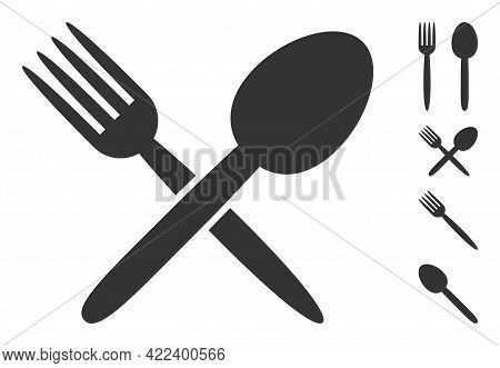 Spoon And Fork Icon With Flat Style. Isolated Vector Spoon And Fork Icon Image On A White Background