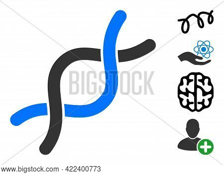 Dna Helix Icon With Flat Style. Isolated Vector Dna Helix Icon Image On A White Background, Simple S