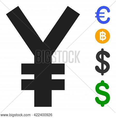Yen Symbol Icon With Flat Style. Isolated Vector Yen Symbol Icon Image On A White Background, Simple
