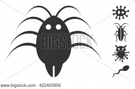 Parasite Icon With Flat Style. Isolated Vector Parasite Icon Image On A White Background, Simple Sty