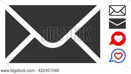 Envelope Icon Designed In Flat Style. Isolated Vector Envelope Icon Illustrations On A White Backgro