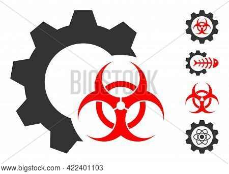 Biohazard Industry Icon With Flat Style. Isolated Vector Biohazard Industry Icon Image On A White Ba