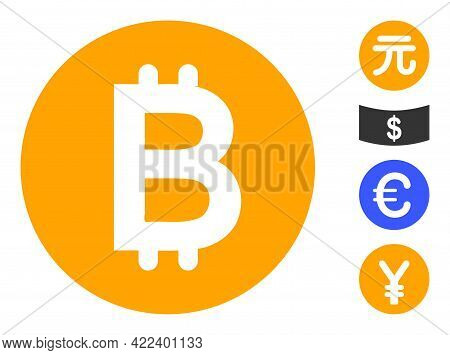 Bitcoin Gold Coin Icon Designed In Flat Style. Isolated Vector Bitcoin Gold Coin Icon Illustrations