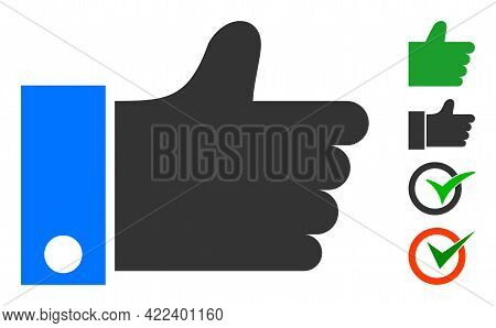 Thumb Up Icon Designed In Flat Style. Isolated Vector Thumb Up Icon Image On A White Background, Sim