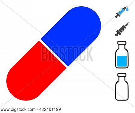 Medical Pill Icon Designed In Flat Style. Isolated Vector Medical Pill Icon Illustrations On A White