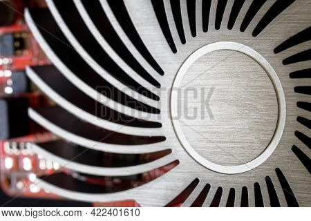 Copper Heatsink For Cooling Modern Silent Graphics Cards. No Cooler. Passive Cooling. Macro. Close-u