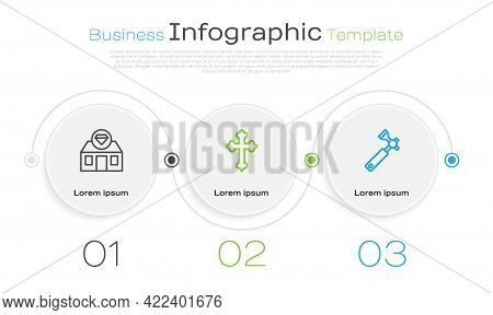 Set Line Jewelry Store, Christian Cross And Jewelers Lupe. Business Infographic Template. Vector