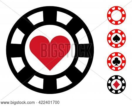 Hearts Casino Chip Icon With Flat Style. Isolated Vector Hearts Casino Chip Icon Image On A White Ba