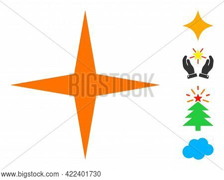Space Star Icon With Flat Style. Isolated Vector Space Star Icon Illustrations On A White Background
