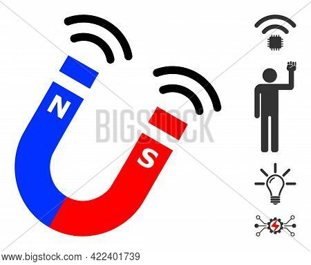 Magnet Field Icon Designed In Flat Style. Isolated Vector Magnet Field Icon Illustrations On A White