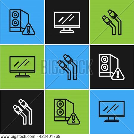 Set Line Case Of Computer, Lan Cable Network Internet And Computer Monitor Screen Icon. Vector