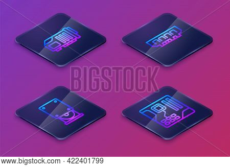 Set Isometric Line Video Graphic Card, Optical Disc Drive, Ram, Random Access Memory And Motherboard