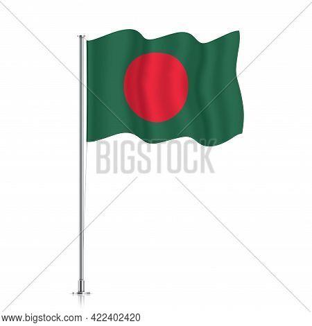 Bangladesh Flag Waving On A Metallic Pole.