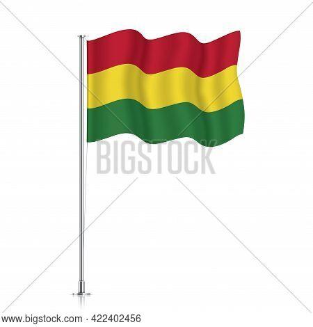 Bolivia Flag Waving On A Metallic Pole.