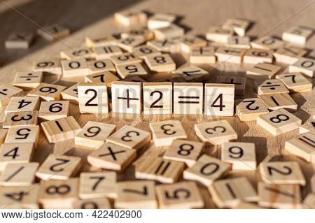 Teaching Material In Mathematics, Montessori Method. School Background.