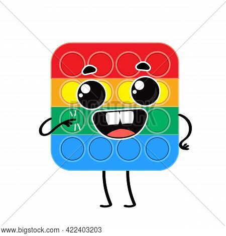 Pop It An Anti Stress Vector Character With A Smile. An Anti-stress Game For People With Autism. Car