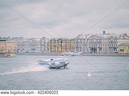 Saint-petersburg, Russia, 28 August 2020: Meteor, High-speed Passenger Water Transport.