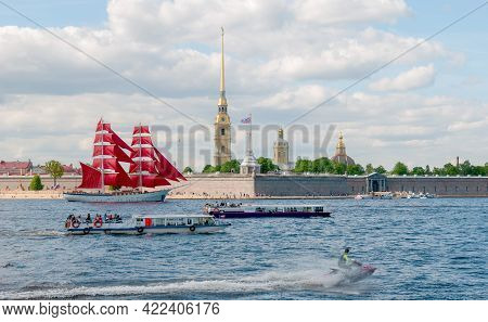 Saint-petersburg, Russia - June 1, 2021: Brig With Scarlet Sails On The Neva River Near The Peter An