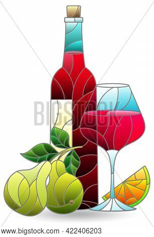 Stained Glass Illustration With A Still Life, A Bottle Of Wine And Fruit Isolated On A White Backgro