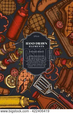 Card Design On Dark Background With Spatula, Pork Ribs, Kebab, Sausages, Steak, Sauce Bottles, Grill