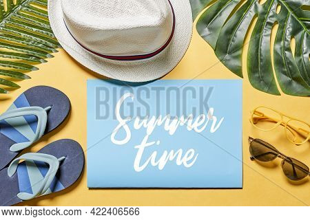 Summer Time Background. Summer Backdrop With Hat, On Yellow And White Background. Summer Travel Or V