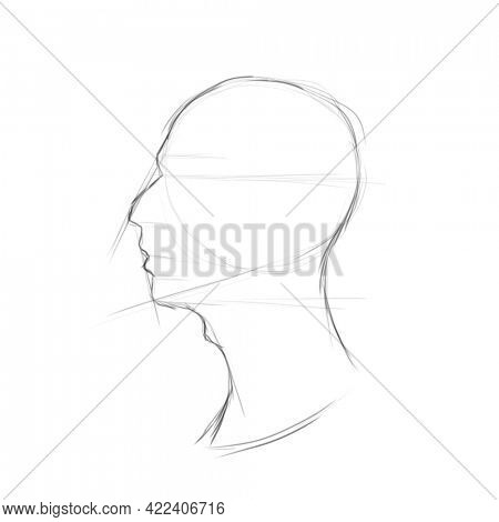Male portrait in profile technical pencil drawing beginning, Man head in profile with humped nose and Adam's apple on neck
