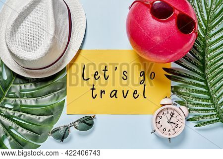Lets Go Travel. Summer Time Background. Summer Backdrop With Hat, On Yellow And White Background. Su