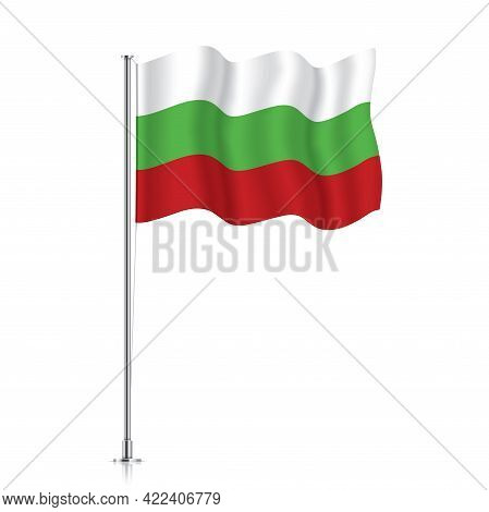 Bulgaria Flag Waving On A Metallic Pole.