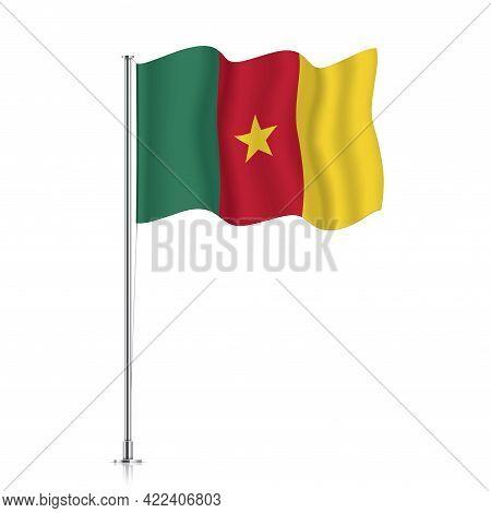 Cameroon Flag Waving On A Metallic Pole.