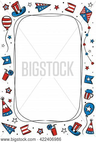 Hand Drawn Frame For Usa Independence Day. Template By July 4th In National Colors Of The United Sta