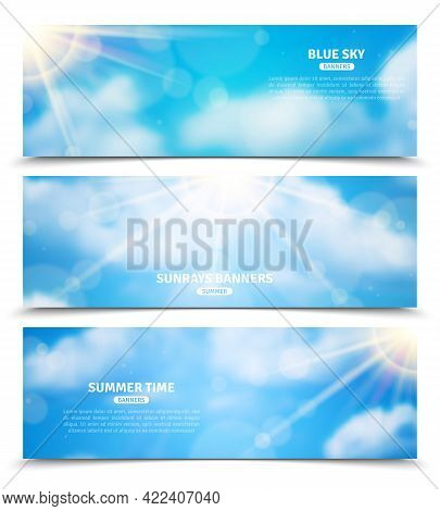 Blue Sky With Sun Rays Trough Clouds Three Horizontal Summer Time Banners Set Abstract Isolated Vect