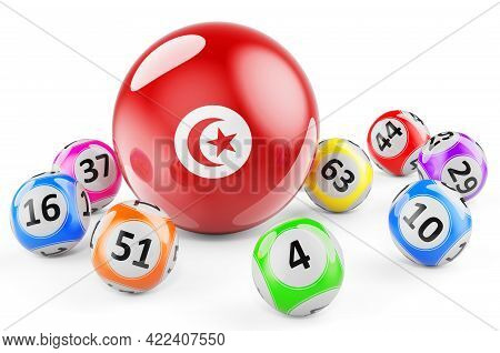 Lotto Balls With Tunisian Flag. Lottery In Tunisia Concept, 3d Rendering Isolated On White Backgroun