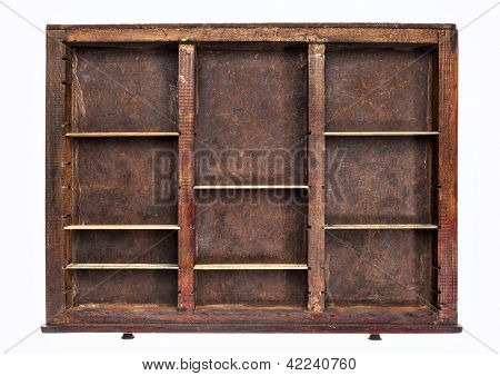 vintage wood  printer  (typesetter) drawer with dividers, isolated on white