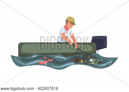 Man Volunteer In Boat Collecting Garbage In Sea, River Or Lake, Ecology Protection Concept Cartoon V