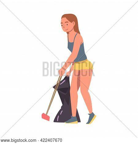 Girl Volunteer Collecting Trash Into Bag On Beach, Ecology Protection Concept Cartoon Vector Illustr