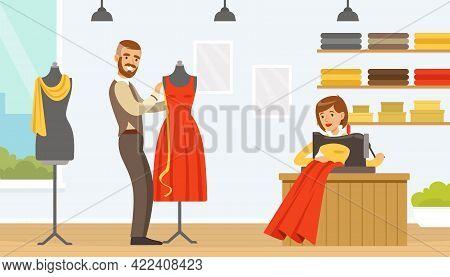 Male Dressmaker Creating Dress, Tailor Working In Atelier Vector Illustration