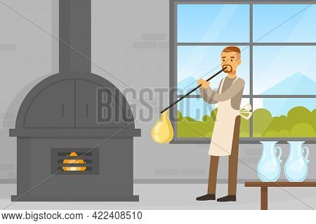 Male Glass Blower Glass Vessels At Workplace, Craft Hobby Or Profession Vector Illustration