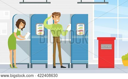 Voting And Election Concept, Voters Casting Ballots At Polling Paper Ballot In Box Vector Illustrati