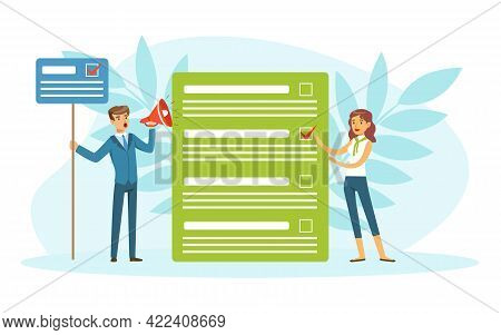 Tiny Voters Filling Out Ballot, Voting And Election Campaign Vector Illustration