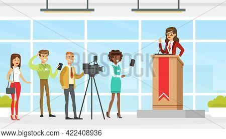 Woman Politician Giving Speech During Election Campaign, Candidate Giving Speech In Front Of Audienc