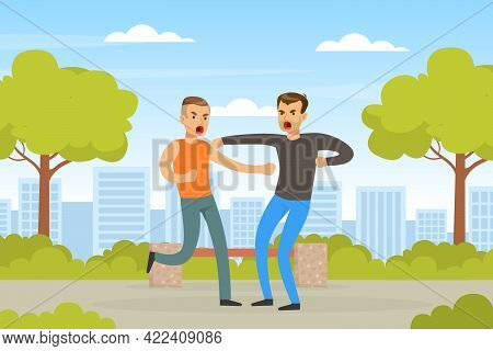 Two Angry Men Arguing And Fighting Outdoors, Human Relations, Quarrel Or Conflict Between Two People