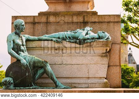 Luxembourg. Monument Of Remembrance Gelle Fra Or Golden Lady Is A War Memorial In Luxembourg City. D
