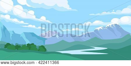 Mountain Landscape With Forest And Water Stream. Vector Cartoon Illustration Of Summer Coniferous Wo