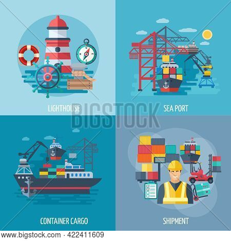 Sea Port Design Concept Set With Container Cargo And Shipment Flat Icons Isolated Vector Illustratio